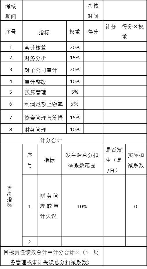 表5-10 财务总监年度目标责任绩效考核表